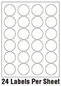 """Picture of 1 2/3"""" Diameter Circle 1 Color - 24/sheet"""