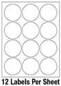"""Picture of 2 1/2"""" Diameter Circle 1 Color - 12/sheet"""